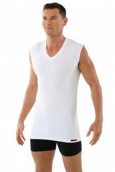 Marcel débardeur col v fonction spéciale cool climat en coton-coolmax blanc