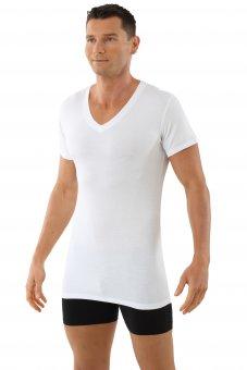 Maillot de corps blanc col v manches cou rtes en micro modal light