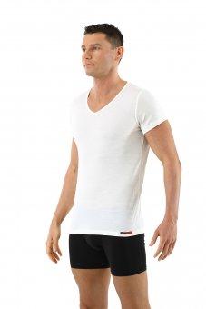 Maillot de corps laine mérinos tee-shirt col v écru
