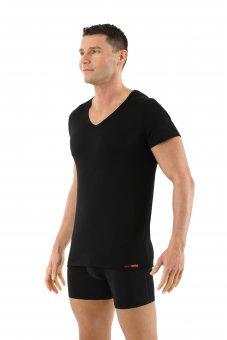 Maillot de corps laine mérinos tee-shirt col v noir