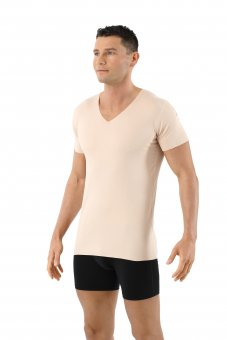 Maillot de corps invisible sans coutures clean cut col v manches courtes en couleur chair beige