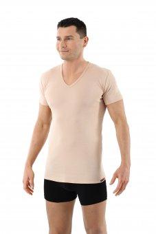 Maillot de corps invisible 100% coton bio col v manches courtes couleur chair beige
