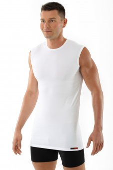 Débardeur blanc col rond en coton stretch