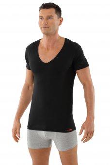 Maillot de corps invisible grand col v manches cou rtes en coton stretch XL