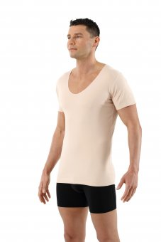Maillot de corps invisible sans coutures clean cut grand col v manches courtes en couleur chair beige
