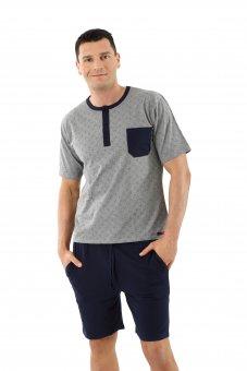 Pyjama homme à manches courtes et short en coton stretch bleu marine - gris avec motifs