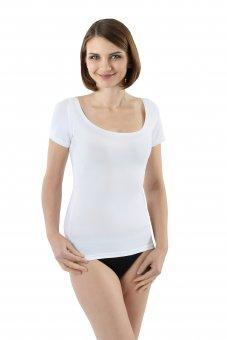 Maillot de corps manches courtes en coton stretch tee-shirt col rond très large et profond pour épaules larges - blanc