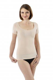 Maillot de corps invisible à manches courtes en coton stretch tee-shirt col rond très large et profond pour épaules larges