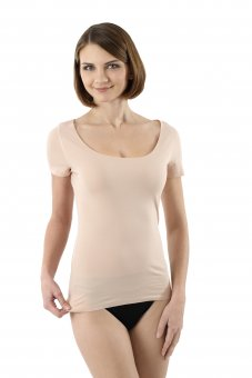 Maillot de corps invisible sans coutures clean cut grand col rond manches courtes en couleur chair beige