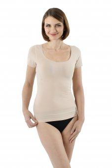Maillot de corps invisible à manches courtes en coton stretch tee-shirt grand col rond XS