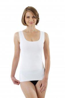 Débardeur sans coutures clean cut grand col rond en couleur blanc XS