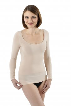 Maillot de corps invisible à manches longues en coton stretch tee-shirt grand col rond XS