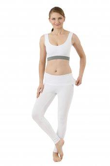 Legging yoga bas thermique en coton stretch bio blanc