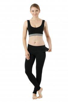 Legging yoga bas thermique en coton stretch bio noir