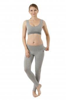 Legging yoga bas thermique en coton stretch bio gris