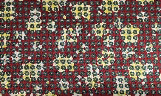 Foulard en soie Jaune, Vert, Bordeaux - Fleurs, Dessin 200056
