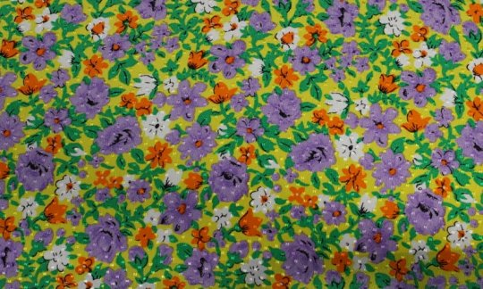 Foulard en soie Jaune, Vert, Blanc, Orange, Violet, Gris - Fleurs, Dessin 200063