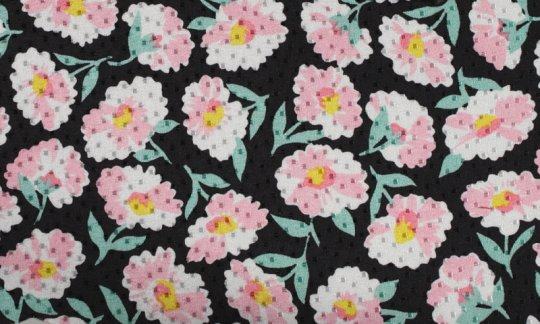 Foulard en soie Jaune, Vert, Noir, Blanc, Rose - Fleurs, Dessin 200064