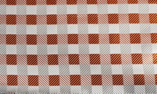Foulard en soie Argent, Blanc, Orange, Terre cuite - Carreaux, Dessin 200077