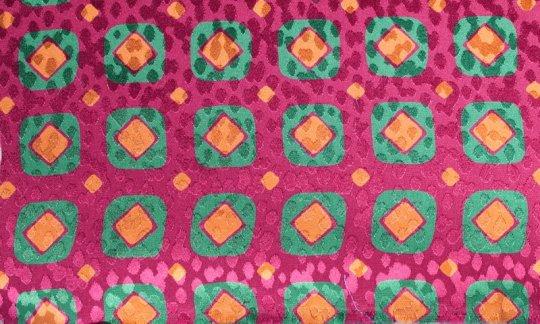 Foulard en soie Rouge, Vert, Or, Orange, Bordeaux - Carreaux, Dessin 200082