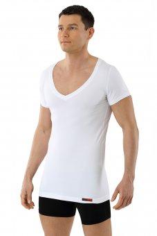 Maillot de corps blanc grand col v manches cou rtes coton-coolmax anti transpiration