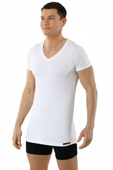 Maillot de corps blanc col v manches cou rtes coton-coolmax anti transpiration