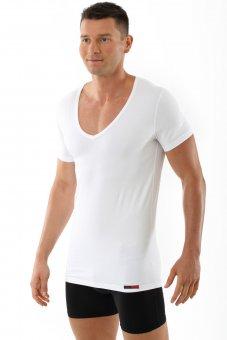 Maillot de corps blanc grand col v manches cou rtes en coton stretch