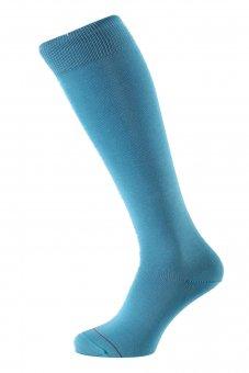 Chaussettes montantes mi bas fil d'Écosse bleu clair