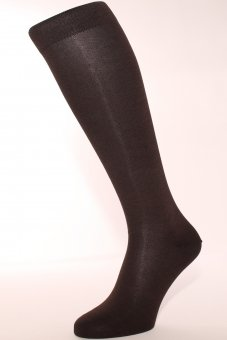 Chaussettes mis-bas élégants marrons en coton avec côté intérieur en cachemire