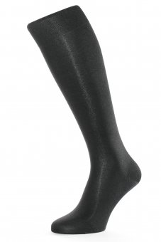 Chaussettes montantes mis bas en pure soie noir