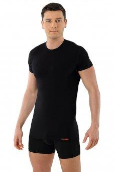 Maillot de corps noir col rond manches cou rtes en coton-modal
